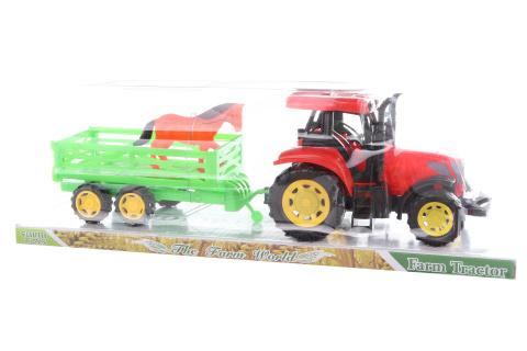Traktor s vlečkou a koněm