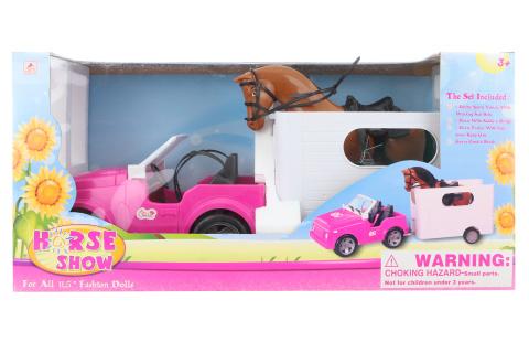 Auto pro panenky s přívěsem a koněm