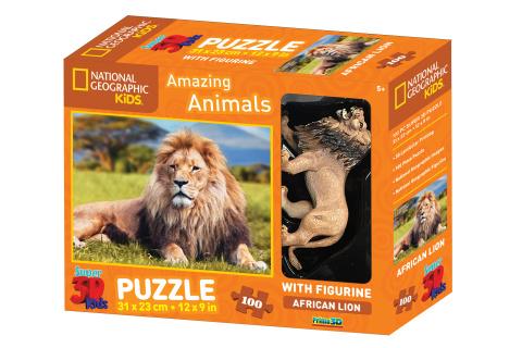3D Puzzle Lev 100 dílků figurka