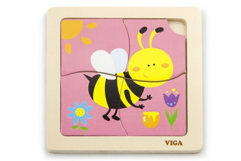 Dřevěné puzzle 4 dílky - včela