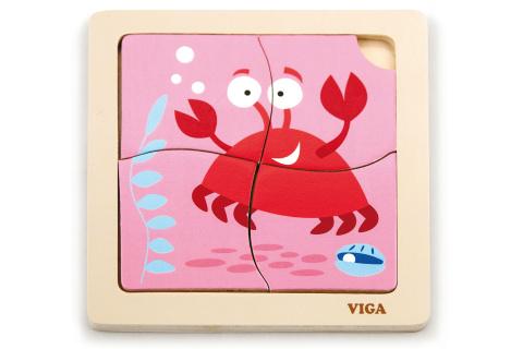 Dřevěné puzzle 4 dílky - krab