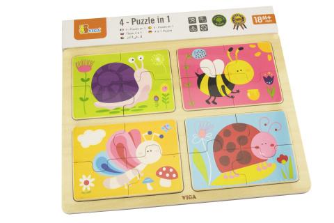Dřevěné puzzle 4v1 - hmyz