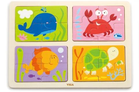 Dřevěné puzzle 4v1 - moře