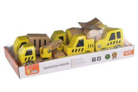 Dřevěný set stavebních aut