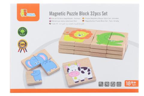 Dřevěné magnetické puzzle - zvířátka