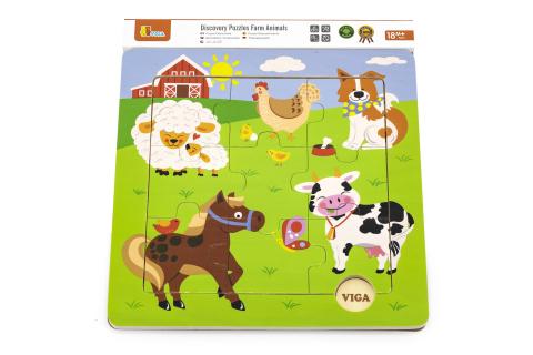 Dřevěné puzzle 9 dílků - domácí zvířátka