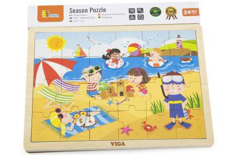 Dřevěné puzzle 24 dílků - léto