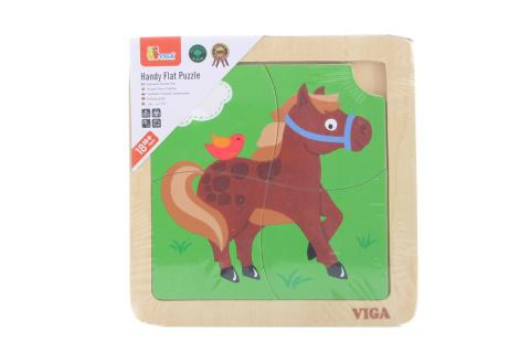 Dřevěné puzzle 4 dílky - kůň