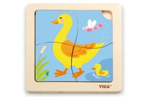 Dřevěné puzzle 4 dílky - kachna