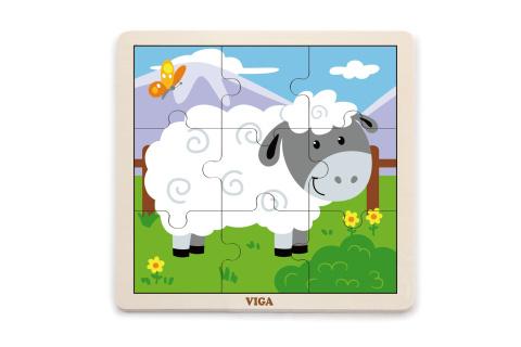 Dřevěné puzzle 9 dílků - ovečka