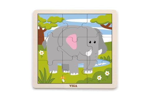 Dřevěné puzzle 9 dílků - slon