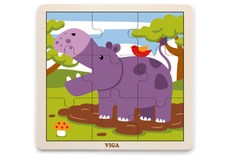 Dřevěné puzzle - hroch