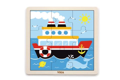 Dřevěné puzzle 9 dílků - loď