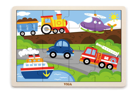 Dřevěné puzzle 16 dílků - doprava