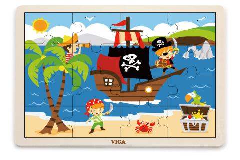 Dřevěné puzzle 16 dílků - piráti