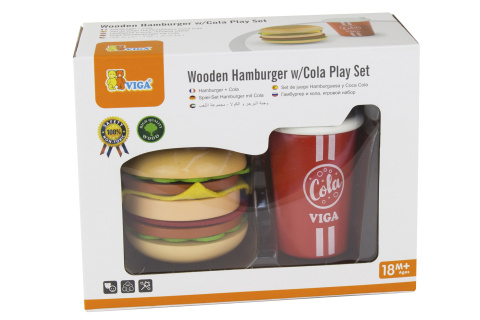 Dřevěný hamburger a nápoj