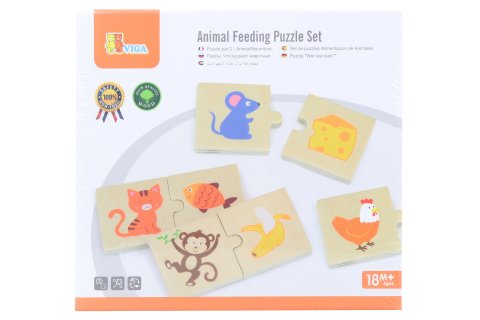 Dřevěné puzzle - krmení zvířátek