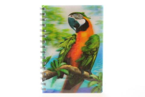 Zápisník A5 papoušek 3D