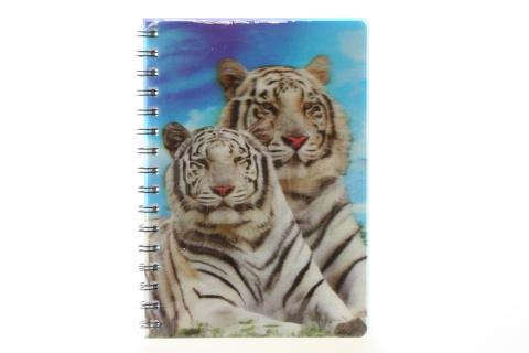 Zápisník A5 bílý tygr 3D