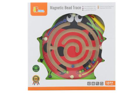 Dřevěné magnetické bludiště beruška