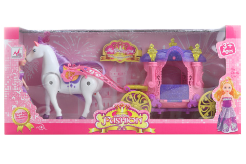 Kůň s kočárek baterie pro panenky malé