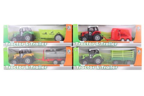 Traktor s přívěsem kovový 12/bal