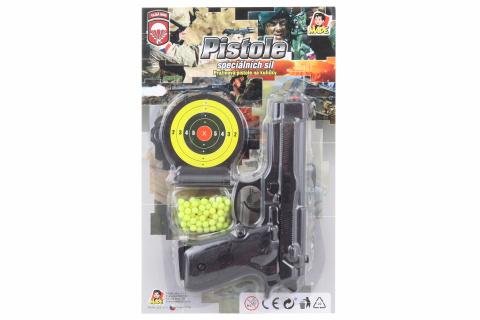 Pistole na kartě s náhradními kuličkami, 18cm