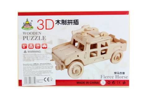 Puzzle dřevěné 3D Džíp