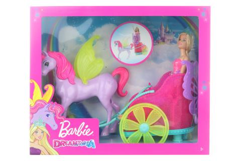 Barbie Princezna v kočáru a pohádkový kůň GJK53