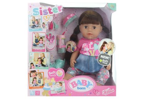 Sestřička BABY born Soft Touch brunetka,  43 cm