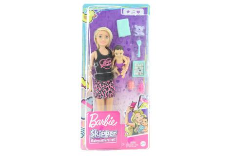 Barbie Chůva blondýnka + miminko/doplňky GRP13