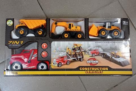 Šroubovací kamion se stavebními auty