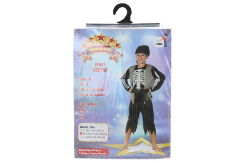 Šaty - Kostra piráta, 120 - 130 cm