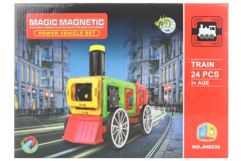 Magnetická stavebnice 24 ks vlak